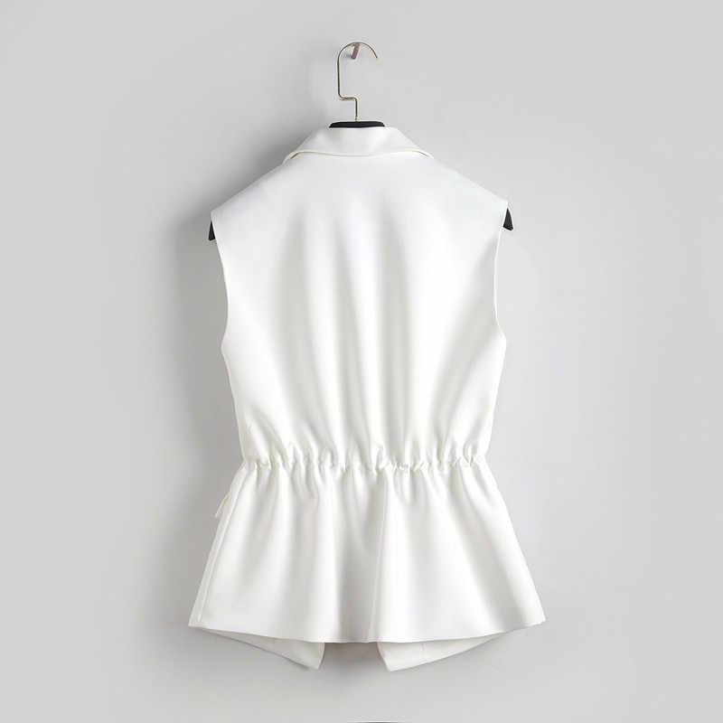 S-2XL ใหม่ OL แฟชั่นผู้หญิงชุดเสื้อกั๊กสไตล์เอว Slim Elegant สำนักงานขนาดใหญ่หญิงสีดำสีขาวแจ็คเก็ต