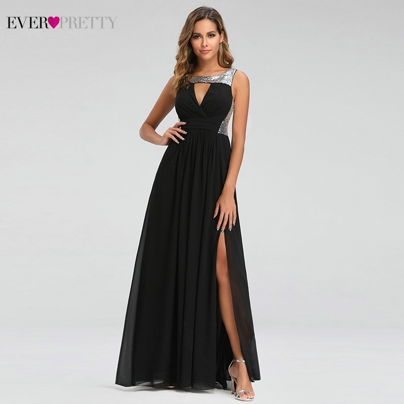 Prom-Dresses Party-Gowns Gala Ever Pretty Black Elegant Sexy Sleeveless O-Neck Side Long