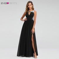 Sexy Prom Dresses Ever Pretty O Neck A Line Sleeveless Black Side Split Party Gowns Elegant Long Formal Dresses Gala Jurken 2019