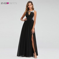 Sexy Prom Dresses Ever Pretty O Neck A Line Sleeveless Black Side Split Party Gowns Elegant Long Formal Dresses Gala Jurken 2019