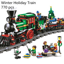 CX 36001 770Pcs Model building kits Compatible with Lego 10254 Christmas Winter Holiday Train Set Children Building Block Bricks