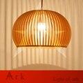 ark light Handmade Wood led ball pendant lamp Lantern Shape Handmade Wood Pendant Lights Modern Real Wood Cage Lamp