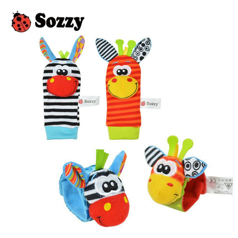 Sozzy Infant Baby Kids Socks Rattle Toys Wrist Rattle And Foot Socks 0~24 Months 4 Pcs/lot (2 Pcs Waist + 2 Pcs Socks)