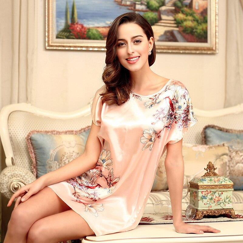 Nightgowns Sleepshirts 2018 Plus Size Silk Lady Sleepwear Dressing ...