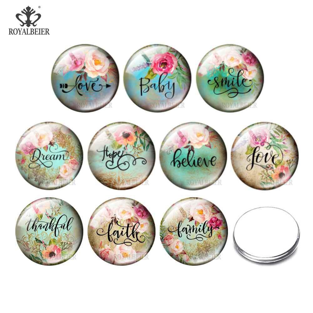 10pcs Alphabet Blessing Snap Button Jewelry 12mm/16mm/18mm/25mm/30mm Round Photo Glass Cabochon Demo Flat Back Making Finding