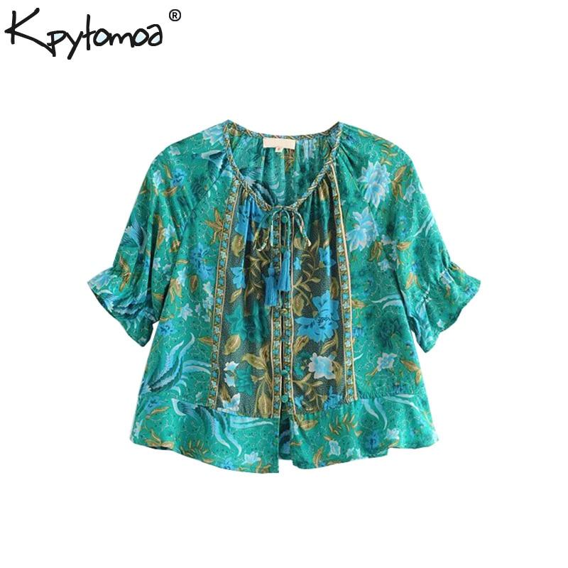 Boho Chic Sommer Kurze Tops Vintage Vogel Floral Print Blusen Frauen 2019 Fashion Lace Up Quaste Puff Hülse Strand Shirts blusas