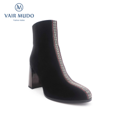 VAIR MUDO Sexy Winter Women Ankle Boots Round Toe Genuine Leather High Thick Heel Shoes Quality Handmade Warm Women Boots DX5 msfair round toe high heel women boots genuine leather sexy ankle boot woman winter elegant fashion ankle boots women shoes