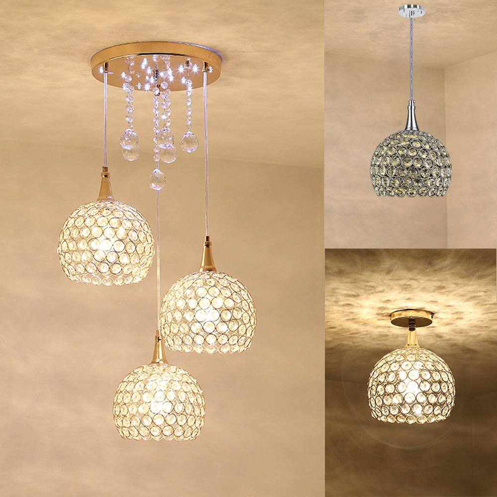 Modern Crystal Dining Room Pendant Lamps Rectangle Top  Restaurant Pendant Light Golden Silver Cup Bar Counter Hanging LightsModern Crystal Dining Room Pendant Lamps Rectangle Top  Restaurant Pendant Light Golden Silver Cup Bar Counter Hanging Lights