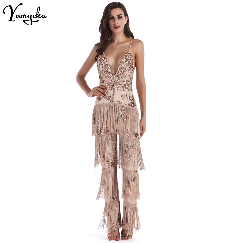 Sexy Rompers Womens New Arrivals   Jumpsuit   for Women Sequins Patchwork Summer Elegant Bandages Club Party Bodysuit Overalls 2018
