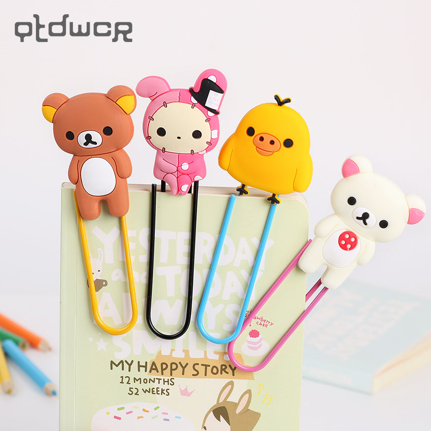 1pc Lovely Cartoon Bookmark Paper Needle Rose Gold Paper Needle Simple Metal Modeling School Student Bookmark Clip Clips
