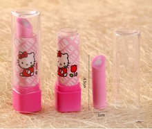 Super cute 10pcs creative lipstick sweet kitty rubber eraser funny cartoon children student girl gift toy stationery wholesale
