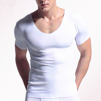 2019 nowego mężczyzna czysty kolor bez podszewki szyi koszulka z krótkim rękawem V kołnierz jednolity kolor koszulki z krótkim rękawem dla mężczyzn wygodne męskie odzież