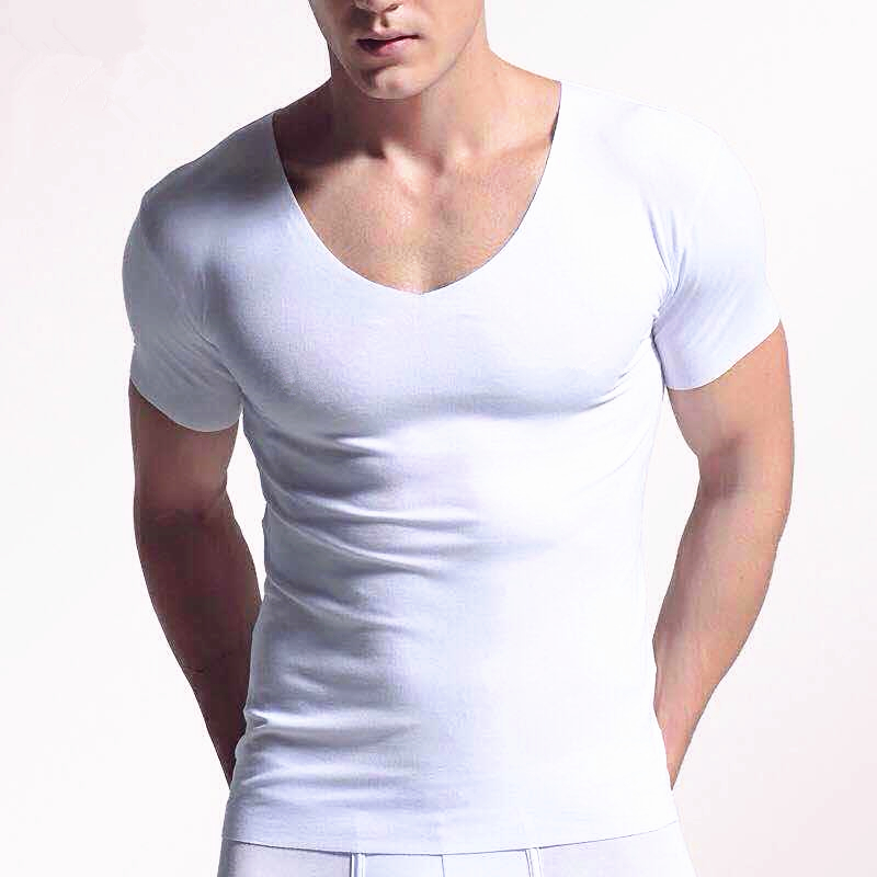 Men's Pure Color Short Sleeved   T  -  Shirt   Traceless Self-Cultivation V Collar Solid Color Summer   T     Shirts