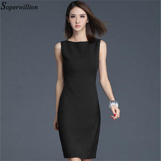 88dcbecb9c19 Soperwillton 2019 New Office Dress Summer Dresses Women Elegant O-neck  Sleeveless Work Wear Sheath Bodycon Dress S-2XL  BD727