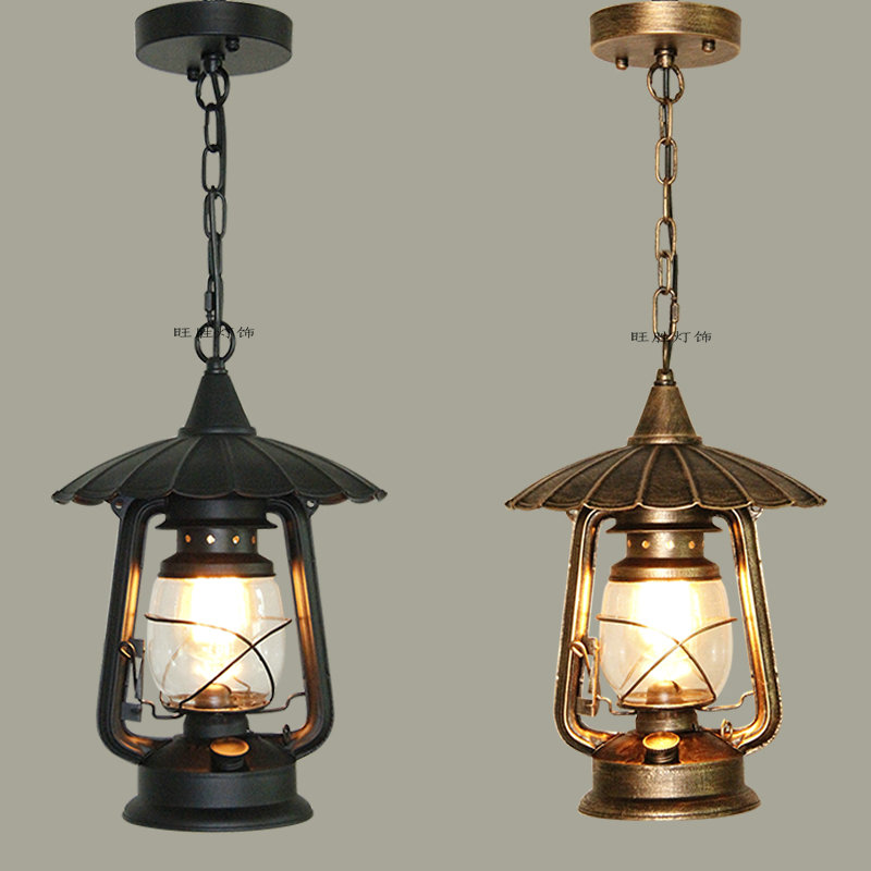 The new European retro single head chandelier aisle lights balcony outdoor patio lamp lamp kerosene lamp bronze Restaurant chinese style iron aisle stairs lamp balcony single head small chandelier hall bedroom bedside lamp lights restaurant zs91 lo10