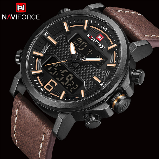 2bc9a5a08534 NAVIFORCE Fashion Mens Watches Top Brand Luxury Quartz Watch Men Casual  Leather Date Waterproof Sport Watch Relogio Masculino