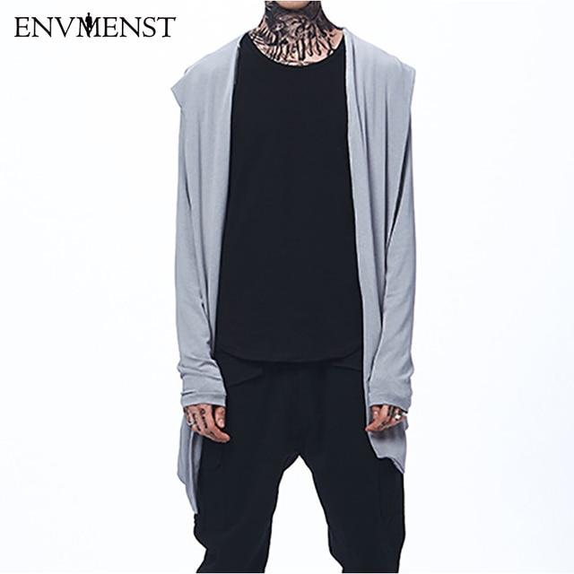 Envmenst 2017 Autumn New Men s Thin No Button Cardigan Sweaters Long Hooded  Knitted Cloak Outwear For Men Street Wear Oversize c844d23a0