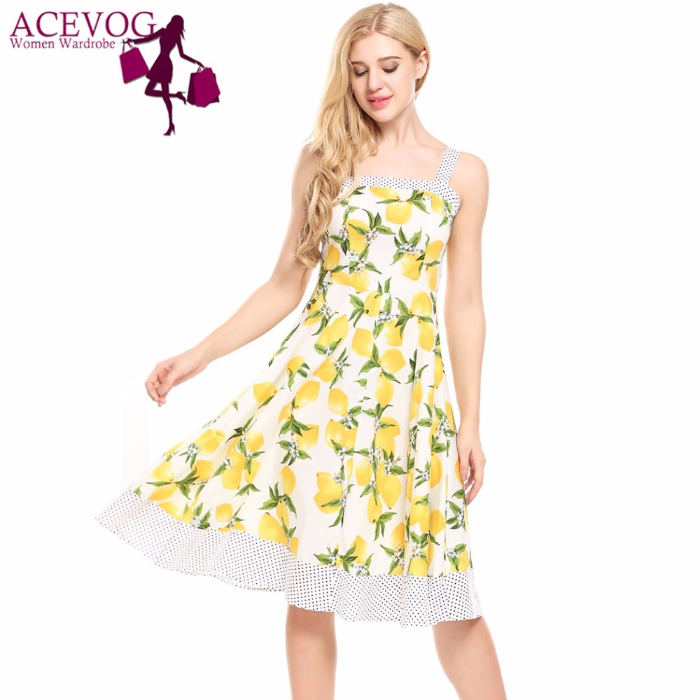 ACEVOG Women Vintage 1960s Summer Dress Spaghetti Strap Lemon Pokal Dot Floral Print Feminino Swing Vestidos Party Dresses mujer
