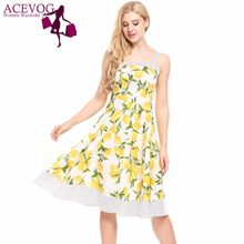 e2ea2852a28a ACEVOG Women Vintage 1960s Summer Dress Spaghetti Strap Lemon Pokal Dot Floral  Print Feminino Swing Vestidos Party Dresses mujer