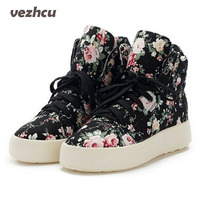 Fashion Women Canvas Shoes Floral Print High Top Platform Shoes Woman Lace Up Height Increasing Wedges