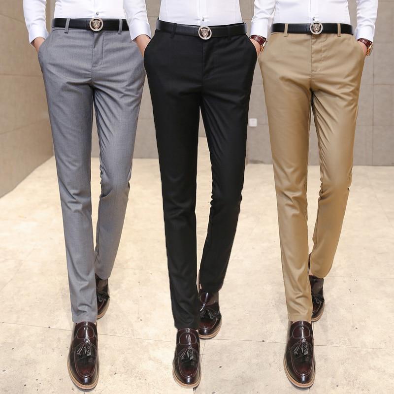 2019 Men's Clothing Suit Trousers /Male High-grade Pure Color Slim Fit Business Suit Pants/Male High-end Leisure Thin Leg Pants