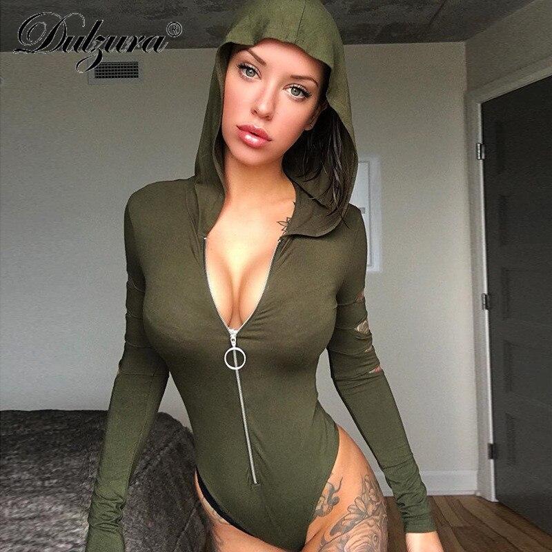 Dulzura Long Sleeve Hooded  Sexy Cut Out Bodysuit 2018  Autumn Winter Women Zipper Army Green White Solid Hoodies Female Body