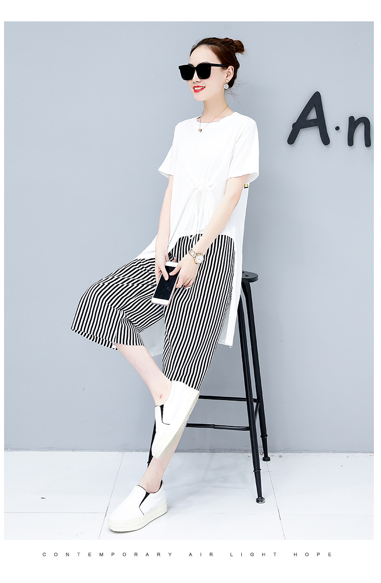 Summer Casual Two Piece Sets Women Black White Short Sleeve Tshirt And Striped Wide Leg Pants Sets Suits Plus Size Women's Sets 43