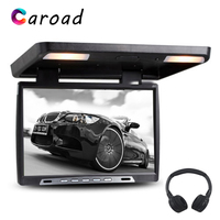Caroad 19 Inch Car Flip Down 1680*1050 TFT LCD Monitor Roof Mount Player IR Transmitter Adjustable View Screen Dome LED Light