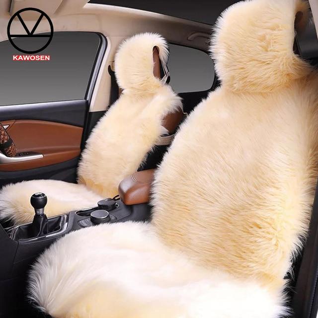 KAWOSEN 2 pcs/set Long Faux Fur Seat Cover, Universal Artificial Plush Car Seat Covers, 9 Color Cute Plush Seat Cushion LFFS02