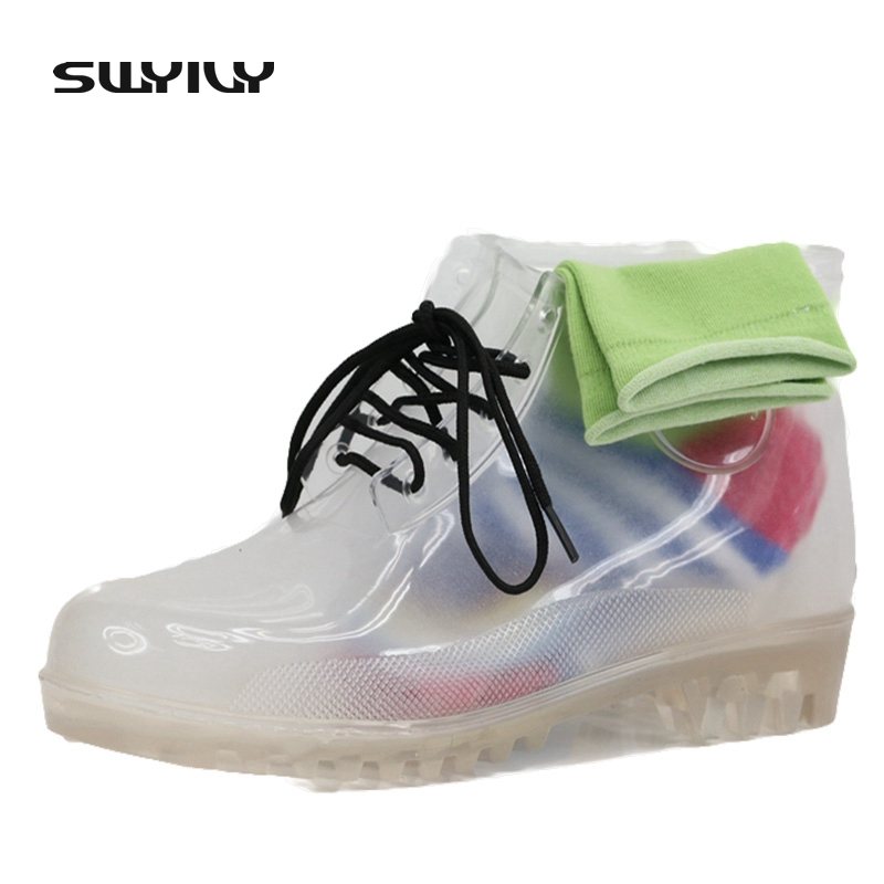 2017 Transparent Women Ankle Rain Boots With Rainbow Socks Woman Waterproof Rubber Boots Multi Color Translucent