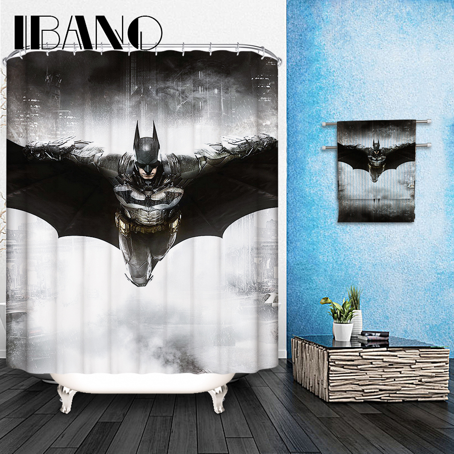 Superhero Shower Curtain City Hero Hot Couple Print for Bathroom