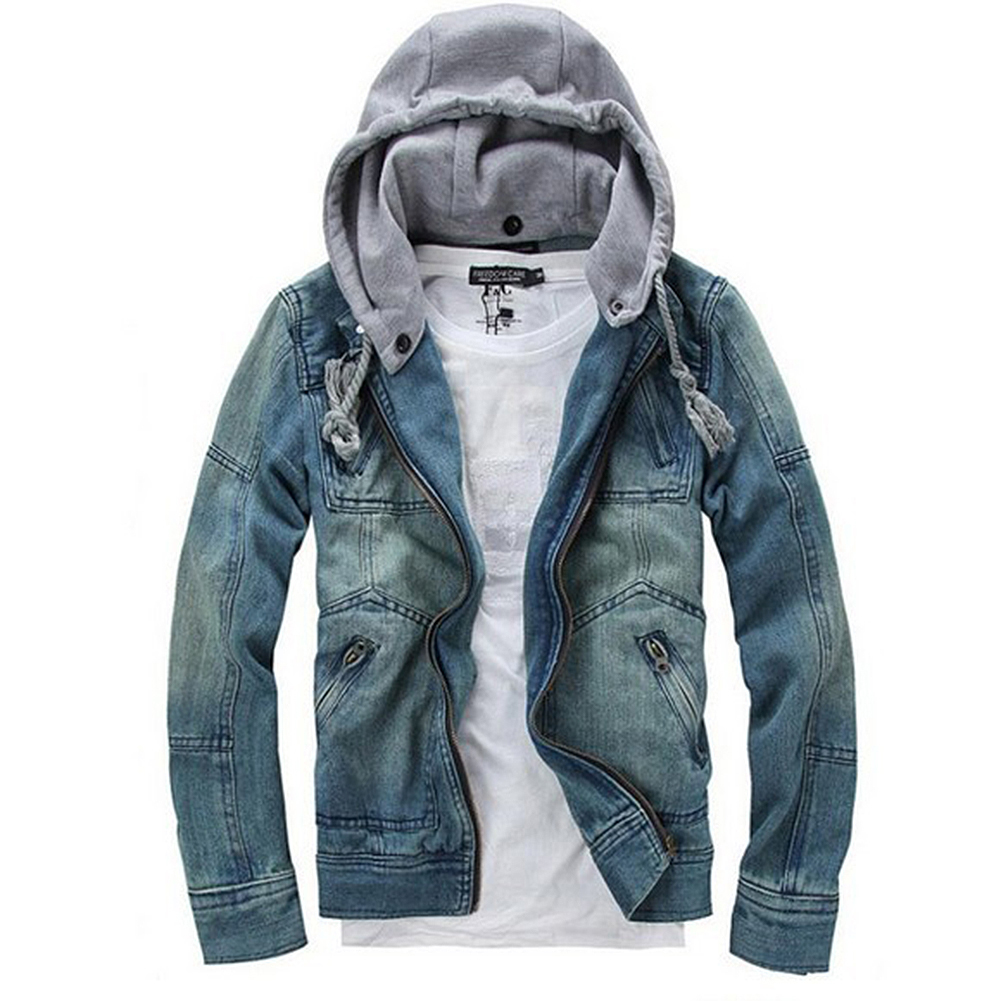 Hot Autumn Winter Men Clothing Hooded Denim Jacket Outdoors Casual Jeans Coats Outerwear-Blue-L