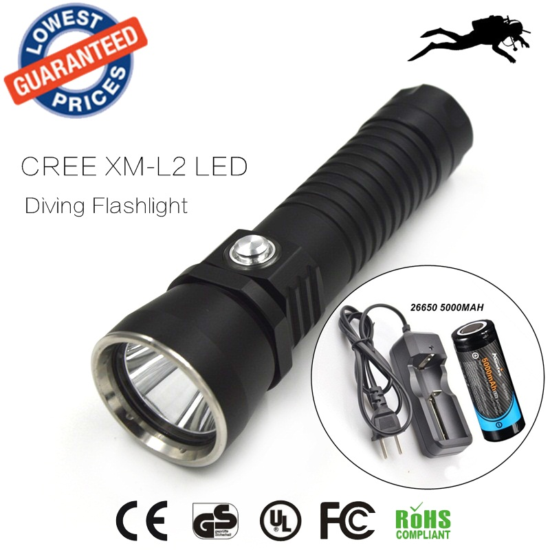 DV14 Diving 2000Lm Underwater Flashlight CREE XM-L XML L2 LED Torch Light Waterproof Brightness Durable+26650 battery+charger xml xm l т6 1200 лм привел велоспорт велосипед велосипед передней фары новых фар