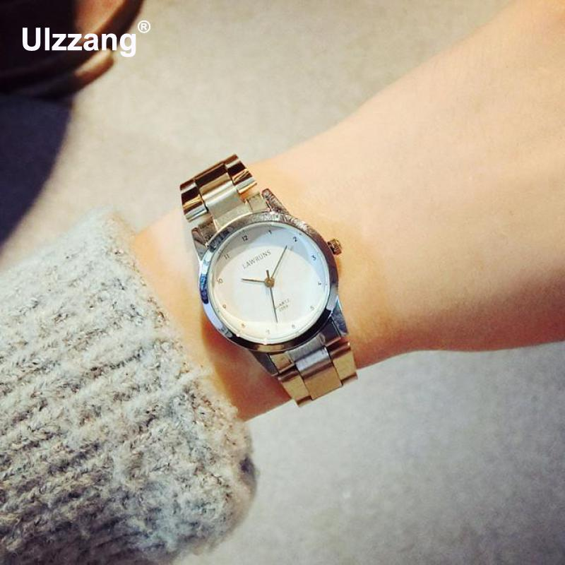 High Quality Fashion Women Men Quartz Watches Full Stainless Steel Couples Lovers Dress Watch Ladies Pair Wristwatch Men Watches