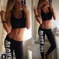 2016 New Women Printed Leggings Harajuku Work out Letter Print Black Casual Sexy Bottom Design Gun Fitness Leggings
