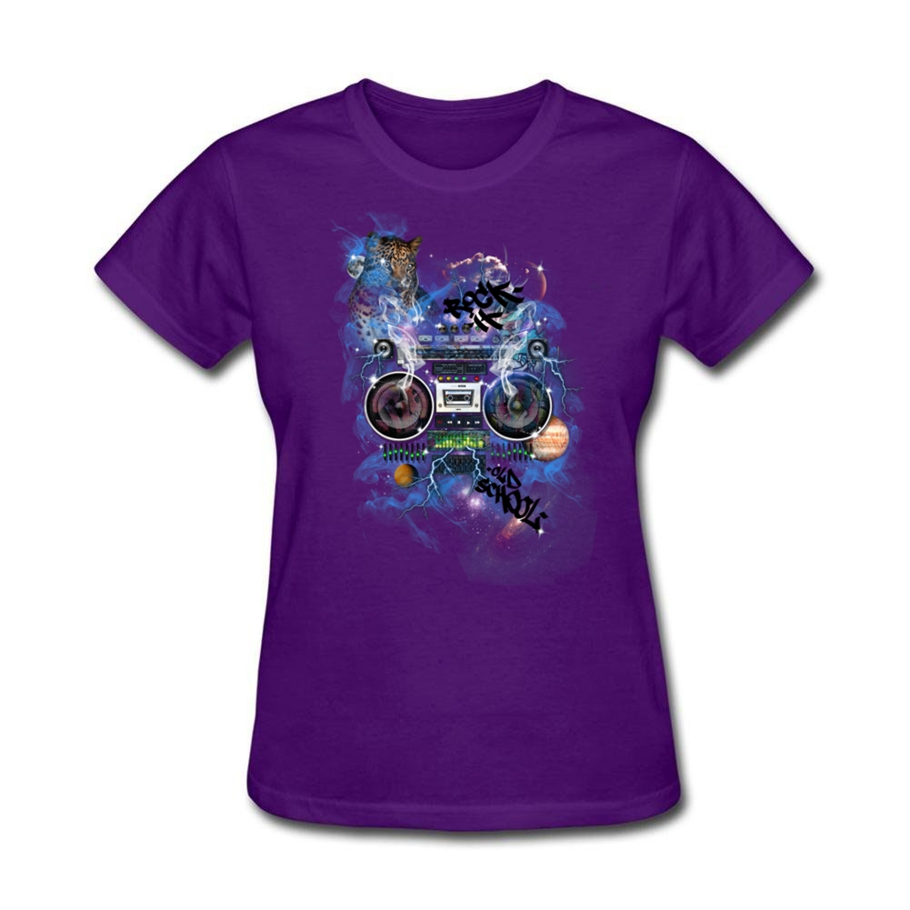 <font><b>Mysterious</b></font> <font><b>Space</b></font> Music Ghetto Blaster Rock cool t shirts hip-hop cotton Women Crew Neck Clothing