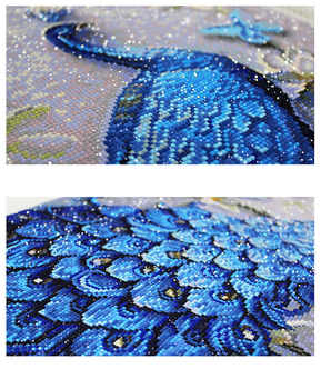 QIANZEHUI,DIY Diamond Embroidery,Round Diamond Peacock blue vertical Full rhinestone Diamond painting cross stitch,needlework