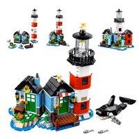 Fit Legoness Creators 31051 Lighthouse Point Hut Sets Minecraft Style 3 in 1 Figures 529pcs Building Blocks Toys Kids Xmas Gifs