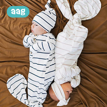 AAG Striped Baby Infant Sleeping Bag Pure Cotton With Hair Band Sleepsacks Summer Thin Envelope for Newborn Wrap Swaddle 0-6M