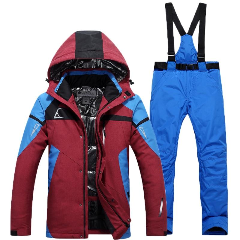Outdoor Wear Camping Riding Skiing Snowboard Super Warm Jacket+Pants Set Free Shipping Men Ski Suit  Men's Windproof Waterproof