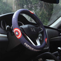 Marvel Super Hero Car Steering Wheel Covers Set Flax Cute Captain American Iron Man Batman Cartoon Case For Auto Accessories