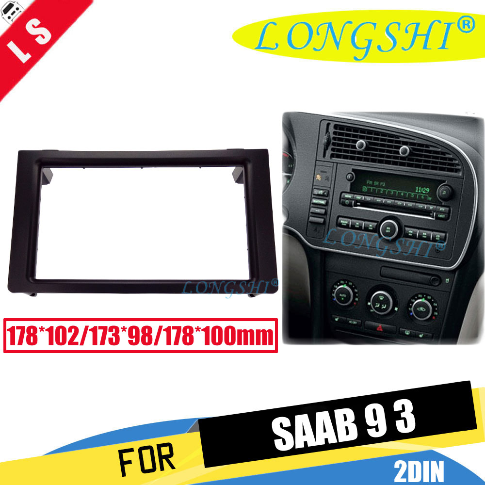LONGSHI Double 2 Din Facia for Saab 93 2005-2010 Radio DVD Stereo CD Panel Dash Kit Trim Fascia Face Plate Frame 2din