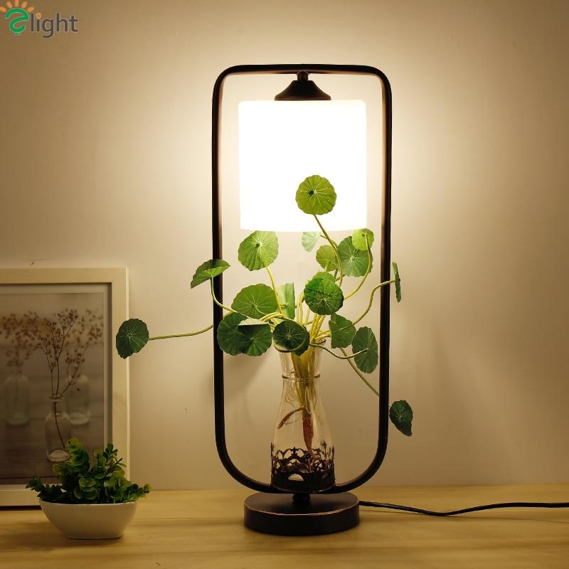 Modern Simple Plants E27 Led Table Lights Lustre Glass Metal Bedroom Led Table Lamp Creative Led Table Lighting Light Fixtures