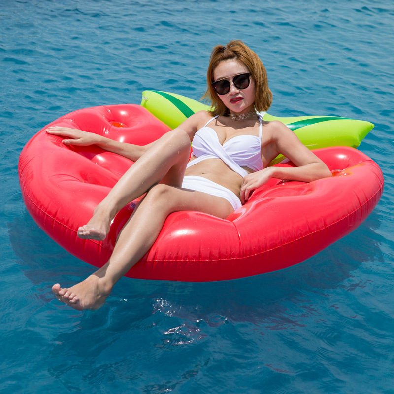 156CM Giant Strawberry Inflatable Pool Float Lie On Swimming Ring For Children Adult Air Mattress Water Party Fun Toys Lounger in Pool Rafts Inflatable Ride ons from Toys Hobbies