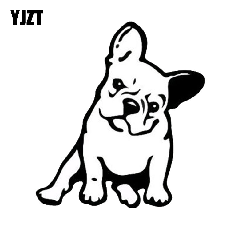 YJZT 11.5*12.7CM FRENCH BULLDOG Dog Vinyl Decal Window Decoration Lovely Animal Car Sticker Black/Silver C6-1349