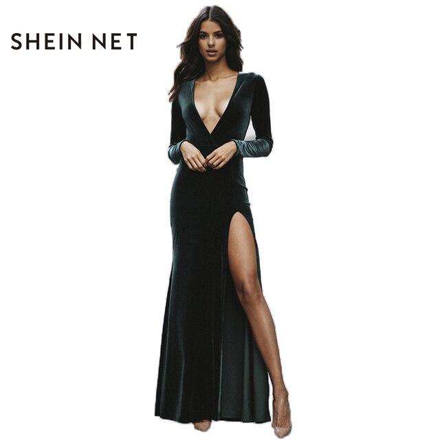 Sheinnet Sexy Women Long Dress Plunge Neck Side Split Long Sleeve Maxi  Dress Women Slim Party Club Dress Vestidos Robe Female cc0bc353d