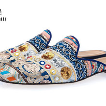 Qianruiti Men Slippers Ethnic Embroidered Shoes Slip-on Mules Bohemia Style Canv