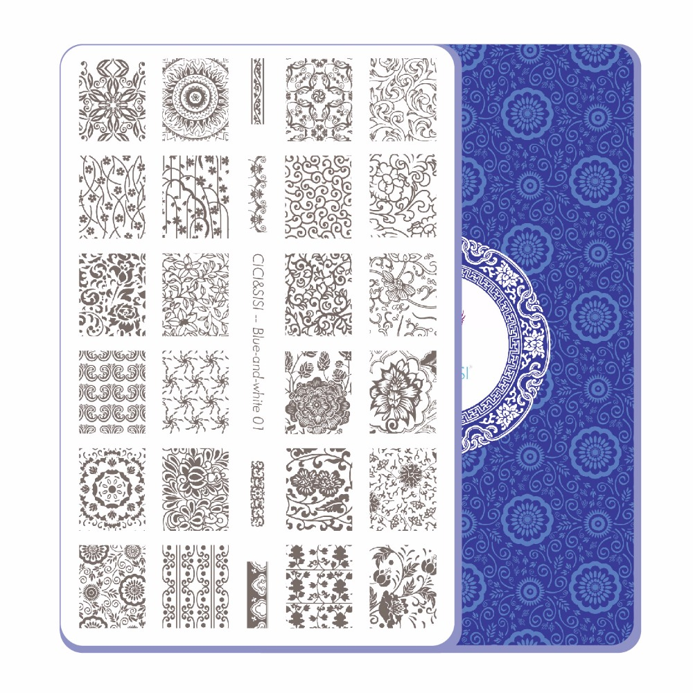 CICI&SISI China Style Nail Art Stamping Plates Stamping Stamp Template Accessories Blue-and-White Theme 01-04 4pcs christmas halloween owl 4 design stainless steel nail plates nail art image konad print stamp stamping manicure template