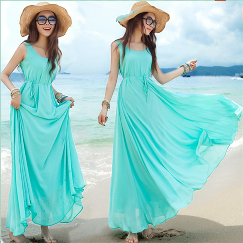 New Sleeveless Woman Chiffon Dress Bohemian Dresses Long Vacation Women's Beach Dresses Women Mujer Vestidos Playa Verano 2016