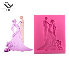 TTLIFE Bride and Groom Liquid Silicone Mold Cake Decorations Chocolate Cookie DIY Jelly Mould Confectionary Pastry Tools